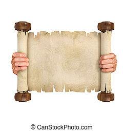 handen, opening, de, perkament, boekrol