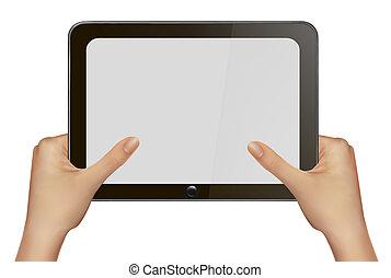 handen, pc., vasthouden, tablet, digitale