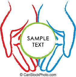 handen, pictogram, vector