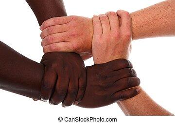 handen samen, strak, vasthouden