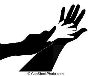 handen, silhouette