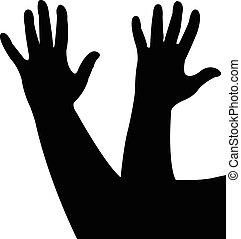 handen, silhouette, samen