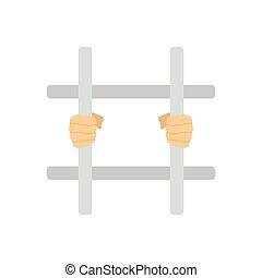 handen, staaf, gevangenis, vasthouden, pictogram