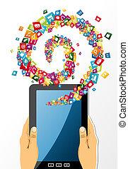 handen, tablet, app, houden, icons., pc, menselijk