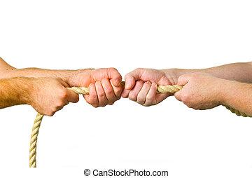 handen, trekken, een, koord