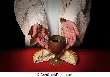 handen, van, jesus, en, communie