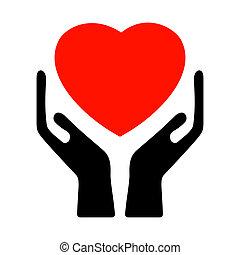 handen, vasthouden, de, heart., eps, 8