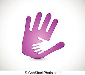 handen, vasthouden, dochter, mama