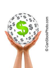 handen, vasthouden, een dollar, bol