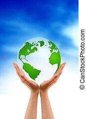 handen, vasthouden, een, globe