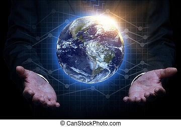 handen, vasthouden, globe