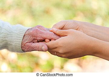 handen, vasthouden, jonge, senior