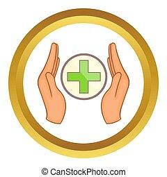 handen, vasthouden, kruis, pictogram