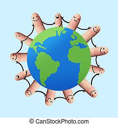 handen, vasthouden, mensen, wereld, ongeveer