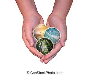handen, vasthouden, natuur, themed, bollen