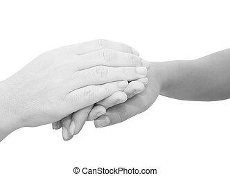 handen, vasthouden, symbolisch, sympathies, anderen, terwijl...