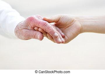 handen, vasthouden, vrouwen, jonge, senior