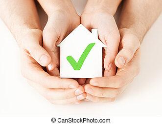 handen, vasthouden, woning, met, controleer teken