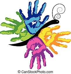 handen, vector, kleurrijke, samen, pictogram