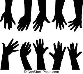 handen, vector, samen