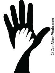 handen, vector, silhouette