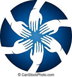 handen, vector, vergadering mensen