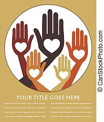 handen, verenigd, behulpzaam, design.