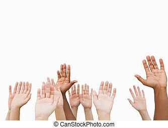 handen, verheffing, lucht