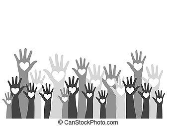 handen, verscheidenheid, ontwerp