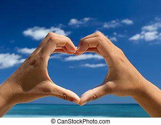 handen, vervaardiging, een, hart gedaante