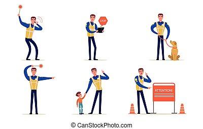 handen, vervaardiging, officier, politieagent, vector, verkeer, zijn, staand, politie, tekens & borden, uniform, straat, illustratie, verzameling