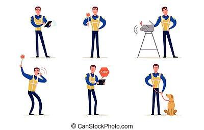 handen, vervaardiging, officier, politieagent, vector, verkeer, zijn, staand, politie, tekens & borden, kruispunten, uniform, illustratie, verzameling
