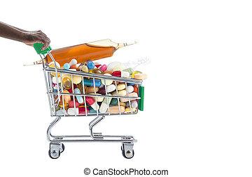 handen, voortvarend, supermarkt, karretjes, gevulde, met, pillen
