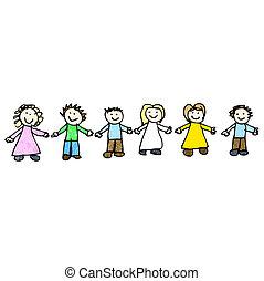 handen, vrienden, tekening, vasthouden, kind