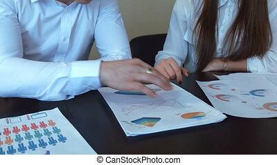 handen, werken, met, financieel, documents.
