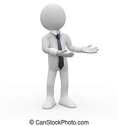 handen, zakenman, wijzende