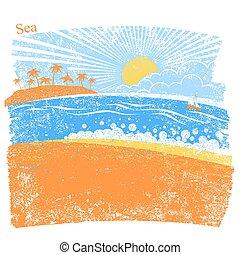 handfläche, abstrakt, blauer hintergrund, meer, insel, vektor, wasserlandschaft, natur, sky.