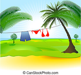 handfläche, badeanzug, baum, bikini