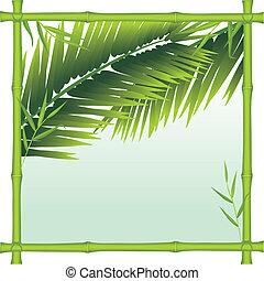 handfläche, bambus, zweige, rahmen