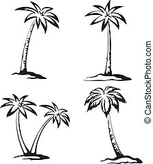 handfläche, pictograms, schwarz, bäume