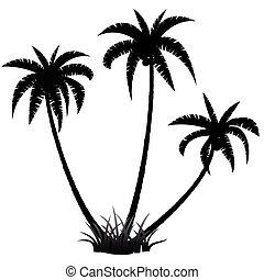 handfläche, silhouette, bäume