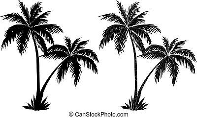 handfläche, silhouetten, bäume, schwarz