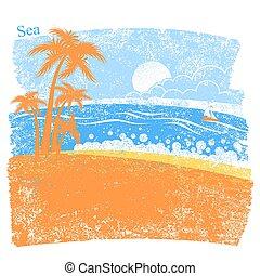 handfläche, tropische , blauer hintergrund, meer, insel, natur