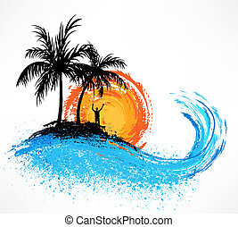 handfläche, wave., sonnenuntergang, bäume, wasserlandschaft
