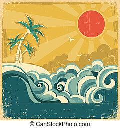 handflächen, natur, weinlese, tropische , wasserlandschaft, design, hintergrund, plakat, .vector