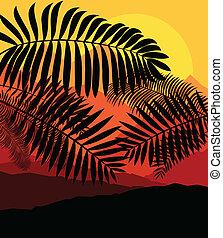 handflator, tropisk, vektor, solnedgång, bakgrund, mystisk
