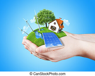 Handful concept eco lifestyle - Hands holding clear green...