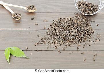 Handful of black tea leaves