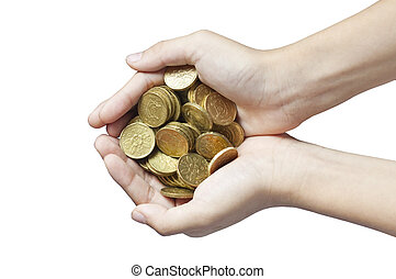Handful of Coins in Boys Hands - Boy holds handful of ...