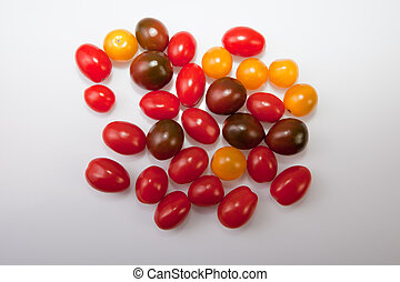Handful of colorful cherry tomatoes